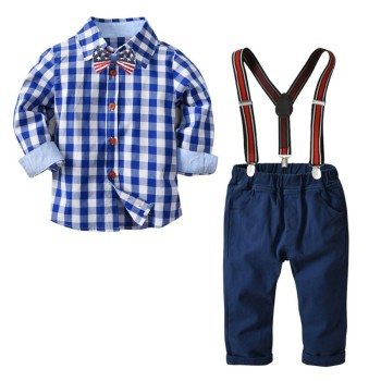 clothes suit for a boy Boy Clothes Set Gentlemen Long Sleeve Plaid Soft Cotton Shirt Tops+Long Strap Trousers Toddler Outfits Boys Clothing Sets
