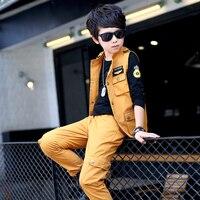 Teenagers Clothes Boys Kids Streetwear 3Pieces Clothing Set Vest Pants T Shirt Big Size Autumn Fall