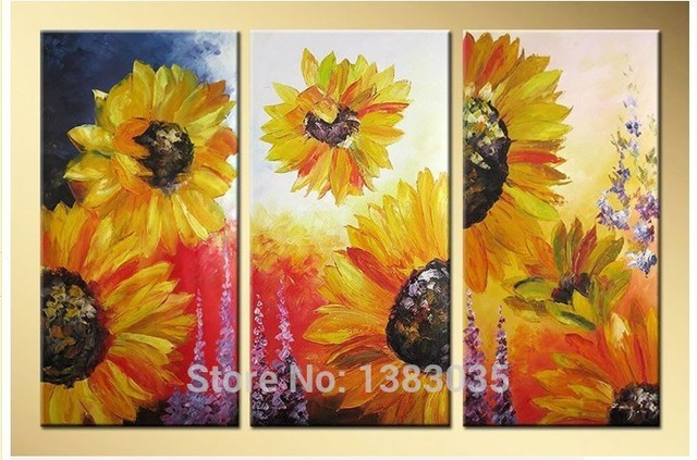 Hand Painted Abstract Yellow Sunflower Wall Art Oil Painting Living Room  Pictures Modern 3 Panel Decorative