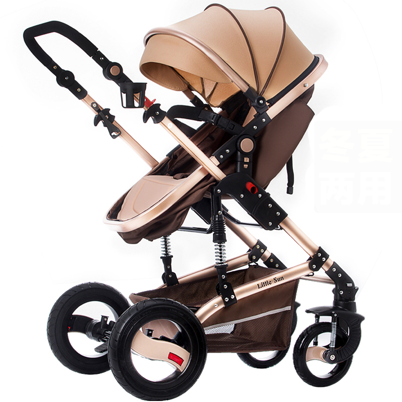 High Landscape Baby Stroller Can Sit and Lie  Multi-function  Two-way push  in  Summer and winter