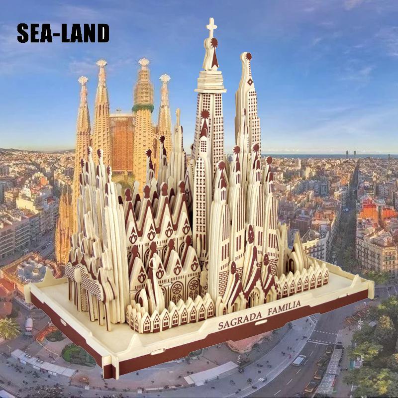 Livraison directe 3D Puzzle en bois enfants modèle adulte la Sagrada Familia un jouet pour enfants de célèbre série de construction meilleur cadeau pour les enfants - 4