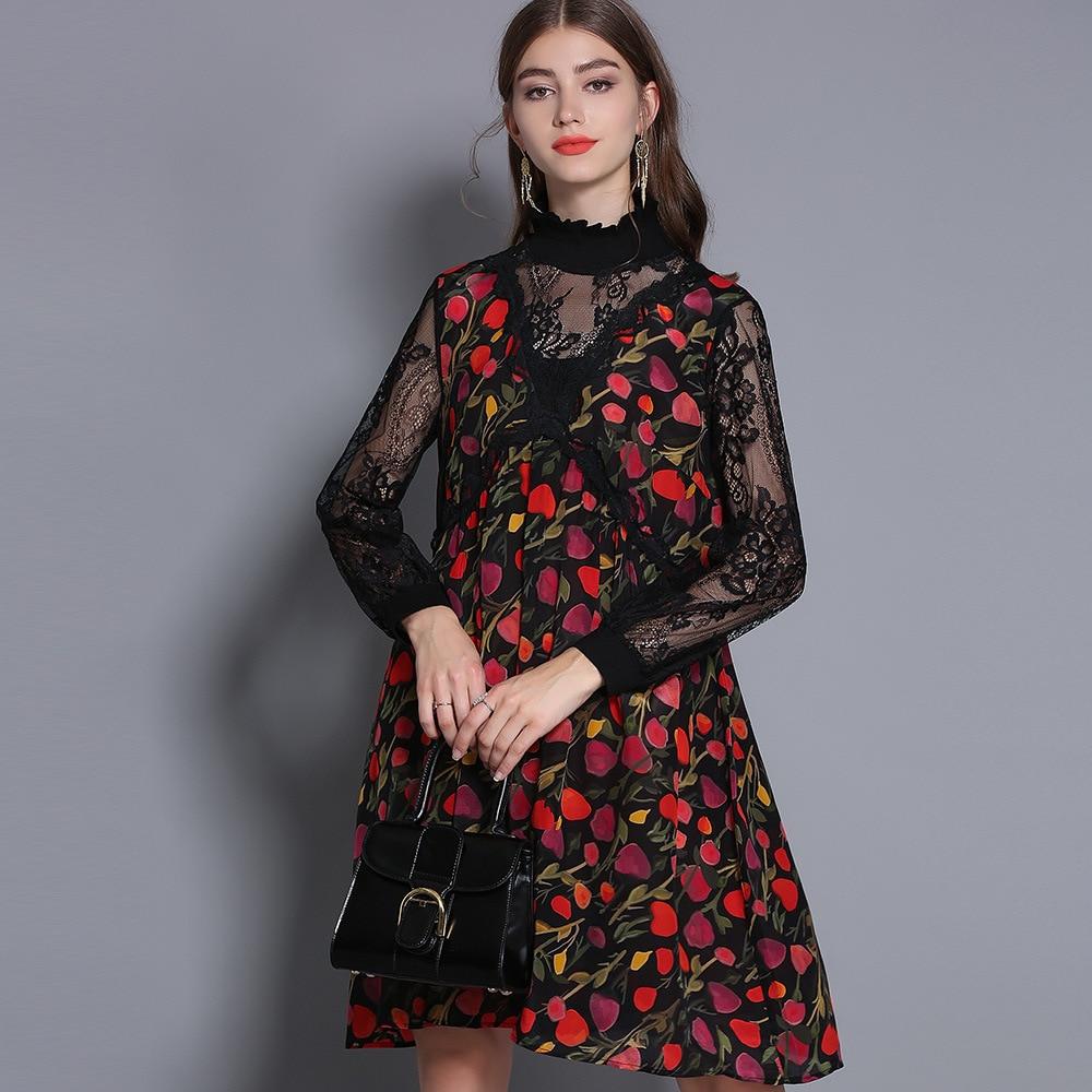 Top Vintage La Dentelle Plus Femmes Robe Patchwork Manches Soie Parti red Des Imprimer Mode Tunique Évider Qualité Blue Vêtements Taille Longues rOqwZrA