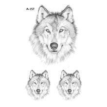 Wyuen New Design Wolf Fake Tattoo Waterproof Temporary Arm Tatoo Stickers for Women Men Body Art Tattoos A-157