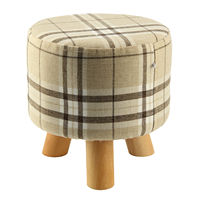 Modern Luxury Upholstered Footstool Round Pouffe Stool Wooden Leg Pattern Round Fabric Big Checkered 3 Legs
