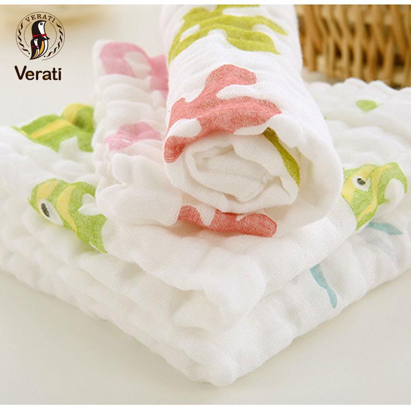 VERAT 3Pcs Cotton Baby Face Hand Bathing Towel Cartoon Printed Square Towel For Newborns Child Feeding Wipe Burp Cloths V011