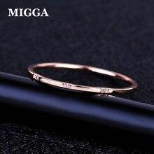 MIGGA нежный тонкий стиль три мини кубического циркония кольцо Модные женские украшения для пальцев розовое золото цвет кольцо