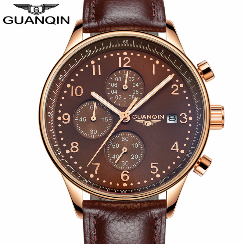 GUANQIN relogio masculino  Mens Watches Top Brand Luxury Chronograph Luminous Clock Men Sport Leather Quartz Watch montre homme