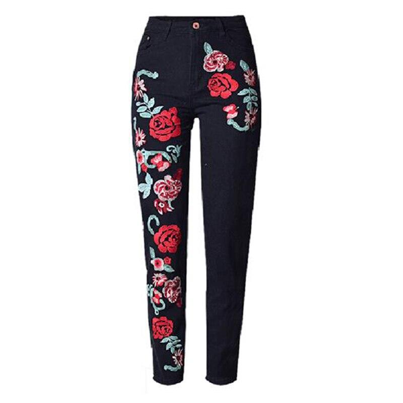 Niza Primavera Estilo Tiene Rosas Más Black Nuevas 2d Con Femeninos Tamaño Rectos Colorido Jeans Bordado Vaqueros Elegante Mujeres Sexy Denim Flojos 4rrwx