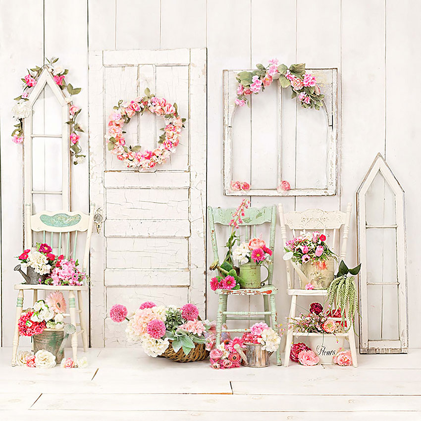 Backdrop Balcony Bright Flowers Wreath Basket Chairs Wood Wall  Background Photo Studio Photobooth