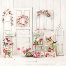 배경 발코니 밝은 꽃 화환 바구니 의자 나무 벽 배경 사진 스튜디오 Photobooth 사진 배경