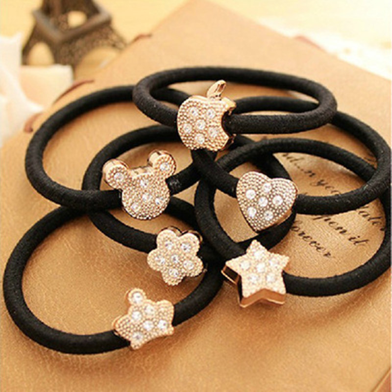 1PCS New Korean Hair Decoration Fashion Imitation Lady Wholesale with Crystal Flower Rings and High Elastic Rubber(China)