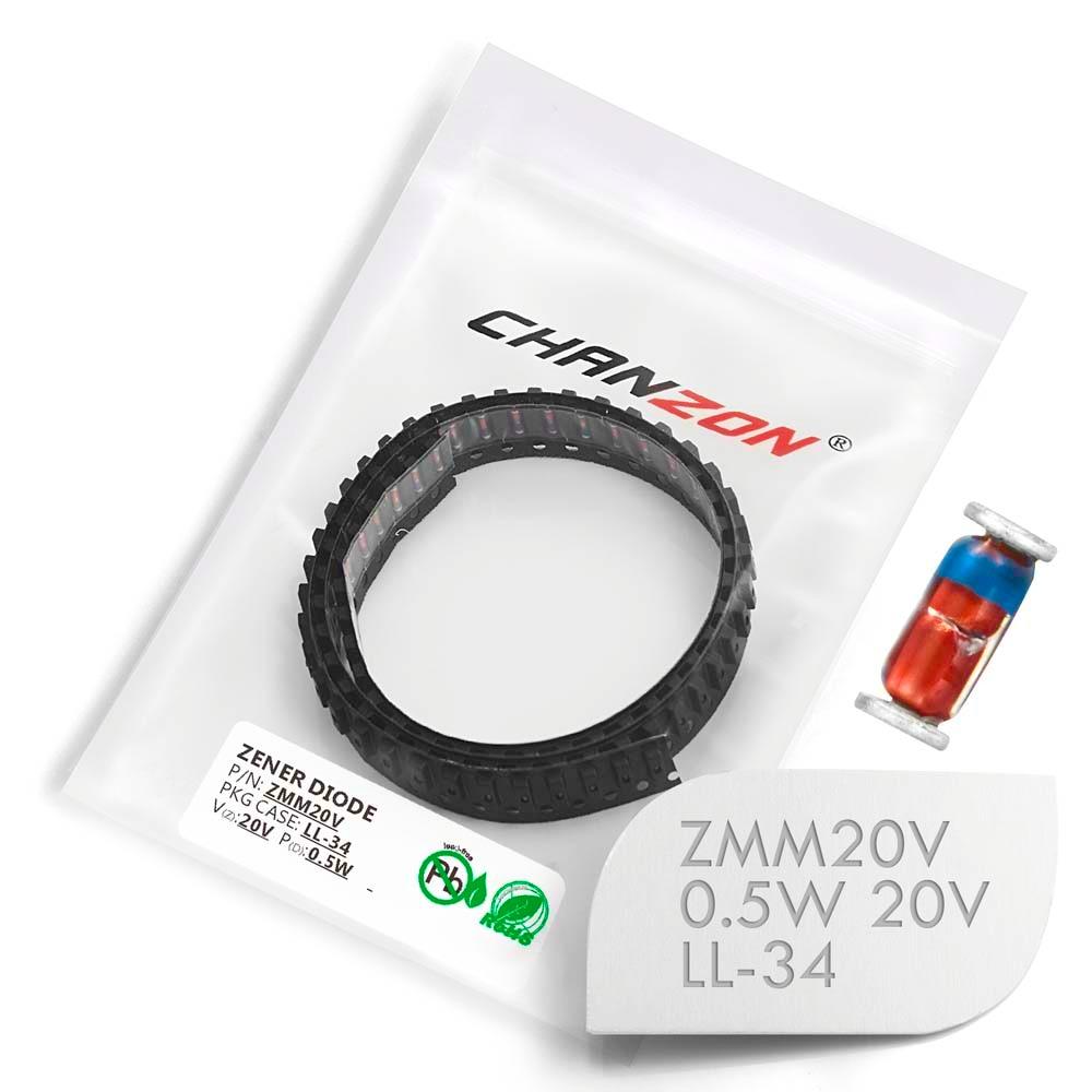 (100/500/2500 Pcs) SMD Zener Diode 0.5W 20V ZMM20V ZMM20 LL-34 (SOD-80 MiniMELF / 1206) 0.5 Watt 20 Volt ZMM 20V