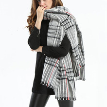 Z1559 Womens Mens Unisex Striped Imitation Cashmere Cape Blanket Tartan Scarf Autumn Winter Fall Scarves Brand