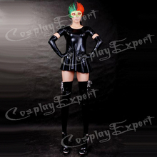Free Shipping DHL Sexy Fancy Dress Adult Sexy Black Shiny Metallic Catsuit Dress Catsuit For Halloween Party SZ14010314
