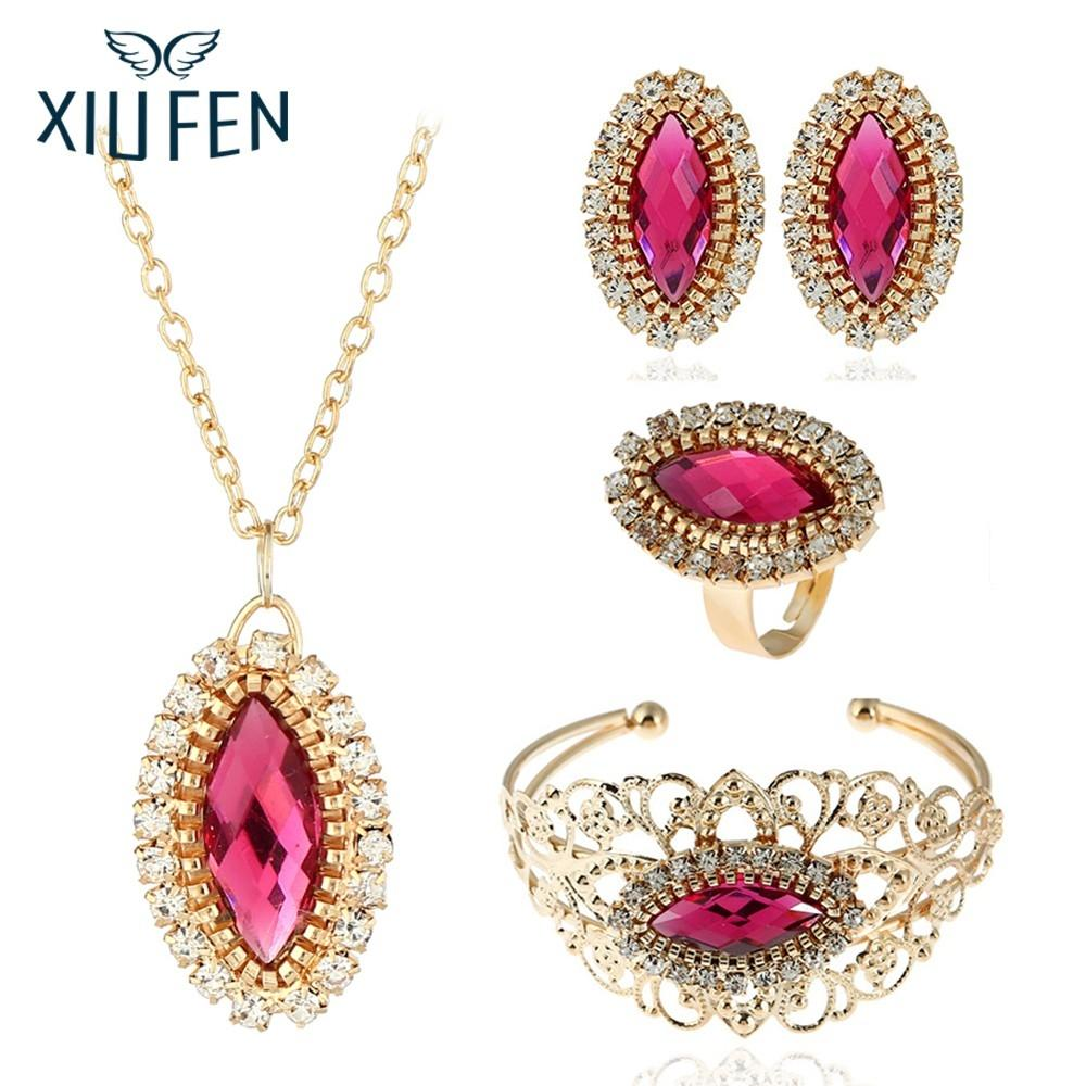 XIUFEN Jewelry Set 5PCS Stylish Pink Ellipse Acrylic Rhinestone Ornament Set Necklace Ear Stud Ring Bracelet Festival Gift Z25