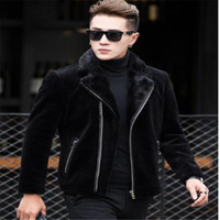 Real Mink coat Genuine Leather Men Short paragraph Winter Fur coat Men's motorcycle leather Jacket hombre veste cuir biker homme
