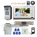 "FREE SHIPPING New 7"" TFT Color Screen Recorder Video Door phone Intercom Kit Outdoor RFID Doorbell Camera + 8G + Strike E-Lock"