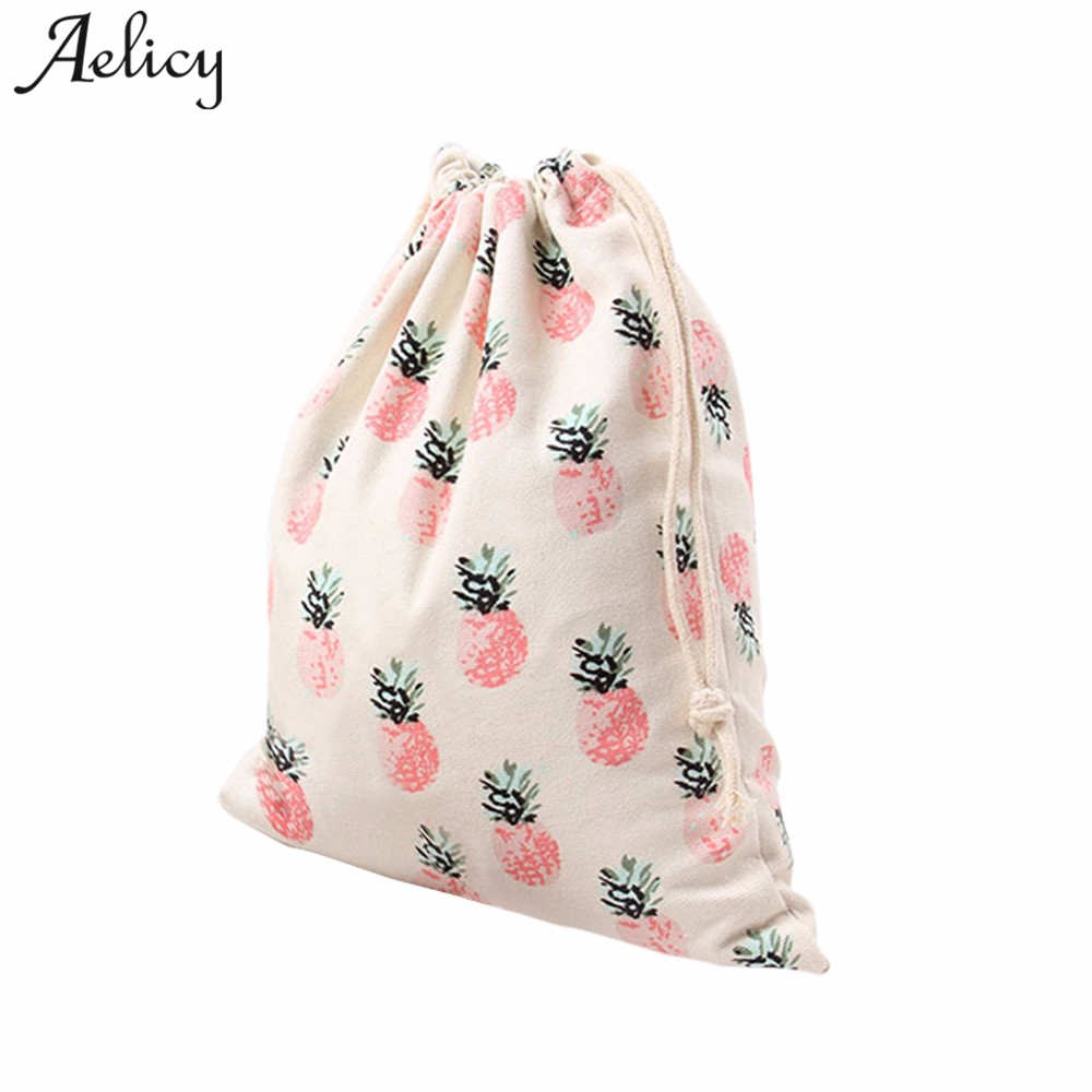 Aelicy Retail Pineapple Printing Children School Bags Cartoon Backpacks Drawstring Beam Port Storage Bags Travel Bag Gift Bag