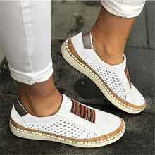 Women's Shoes Fashion Casual Hollow-Out Round Toe Slip On Shoes Flat With Sneakers Female Soft Breathble Summer Shoes