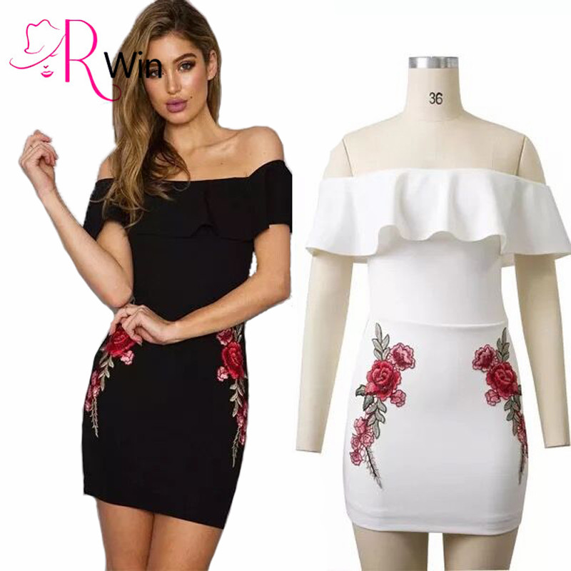 Summer Dress Women Black Sexy Off Shoulder Embroidery Party Dresses 2017 Rose Applique Ruffle Elegant Bodycon Dress