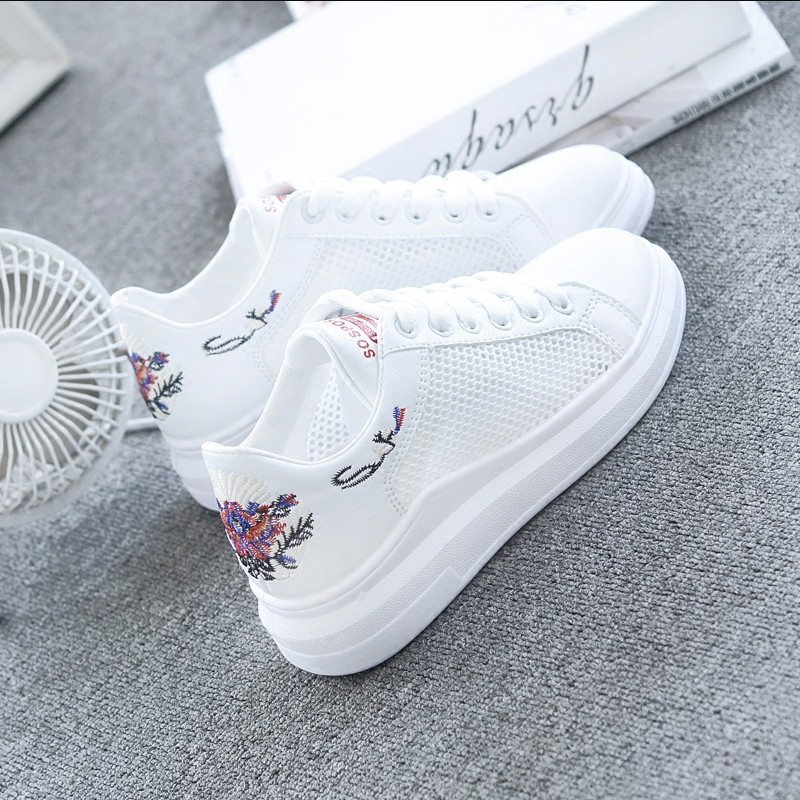 Women Casual Shoes Summer 2018 Spring Women Shoes Fashion Embroidered Breathable Hollow Lace-Up Women Sneakers 1