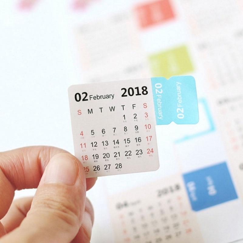 2Pcs/Set New Year 2018 Calendar Index Sticker Cute Cartoon DIY Calendar Planner Label Decorate Sticker kawaii Post It Memo Pad