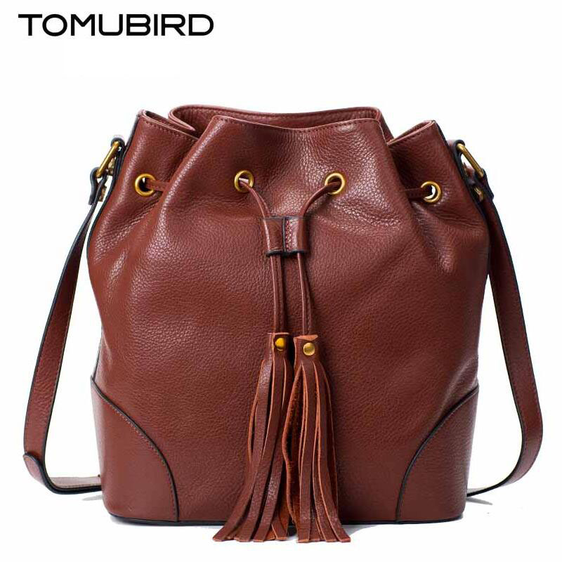 TOMUBIRD new superior cowhide leather Designer famous brand women bag fashion Bucket bag women genuine leather bag tomubird new superior cowhide leather designer rose embossed famous brand women bag fashion tote women genuine leather bag