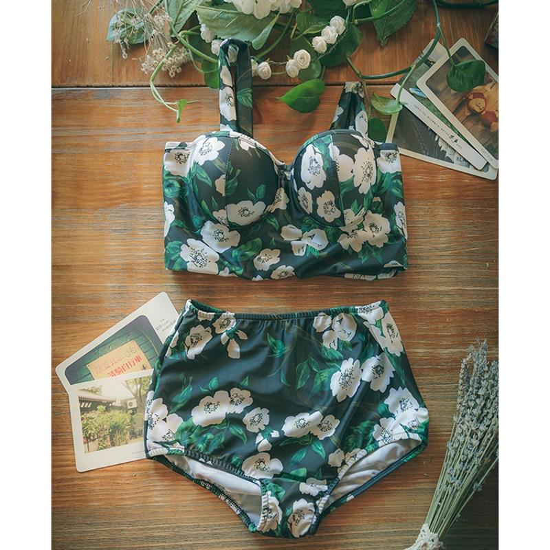 ФОТО New 2017  Green Flowers Printed Bikini Swimwear Women Swimsuit High Generous temperament Waist Bathing Suit Push Up Bikini Set H
