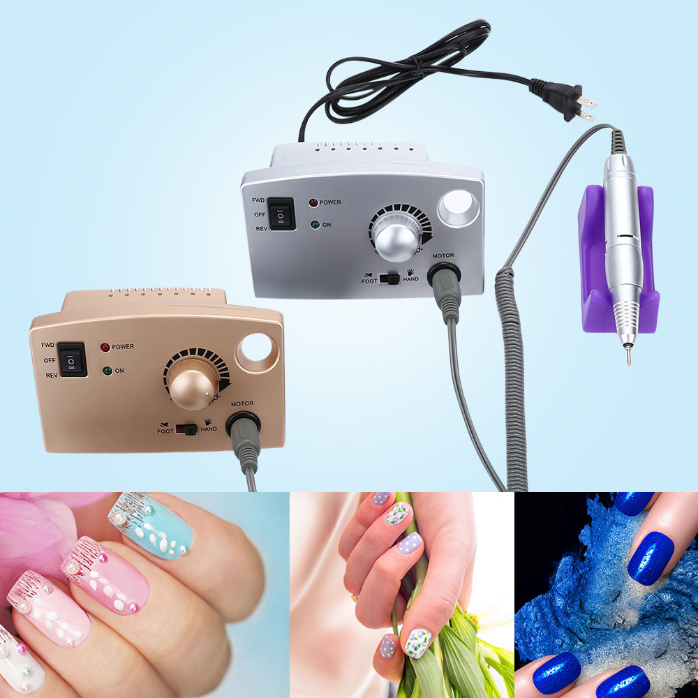 Gustala Pro Nail Art Equipment Pedicure Manicure Electric Polish Machine Nail File Drill Tools With 6 Pcs/Lot Mounted Grindings
