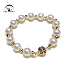 MADALENA SARARA 5-11mm AAA Freshwater Pearl Bracelet Handmade Round Shape Natural White Simple Style цена и фото