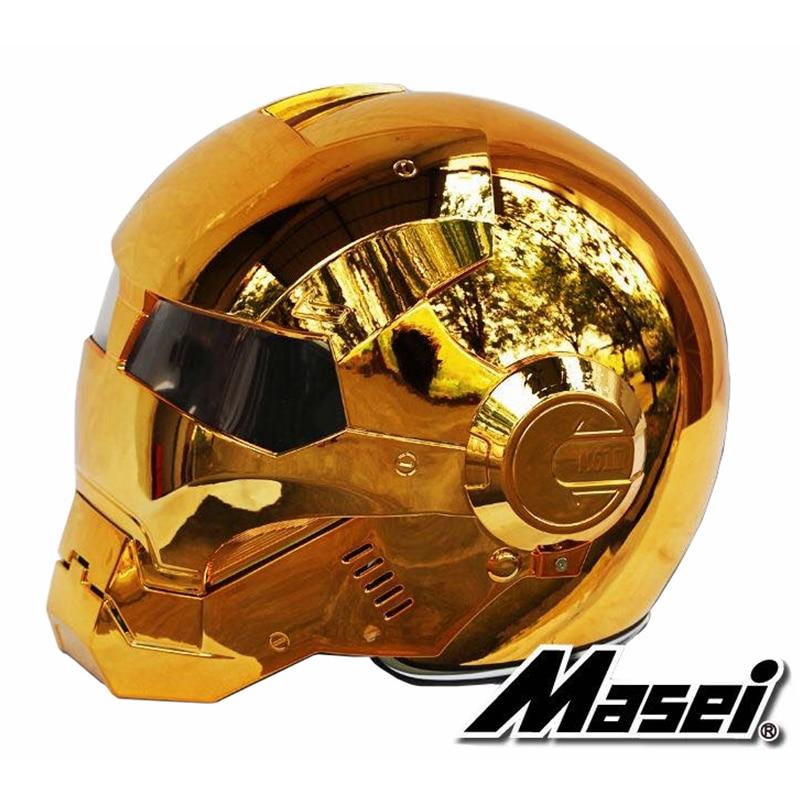 Masei 610 galvaniza chapeamento de bronze cromo ironman homem de ferro capacete da motocicleta meio aberto rosto capacete abs motocross