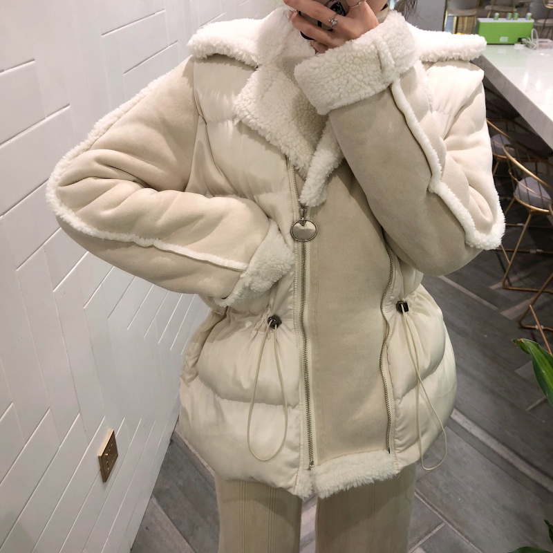 MUMUZI 2019 New Brand Clothing Women Spring Autumn Parka Womens slim waist Jacket sheepskin faux fur Warm Coat