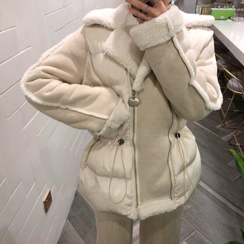 MUMUZI 2019 Nouveau Marque Vêtements Femmes Printemps Automne Parka Femmes mince taille Veste en peau de mouton Manteau en fausse fourrure Chaude