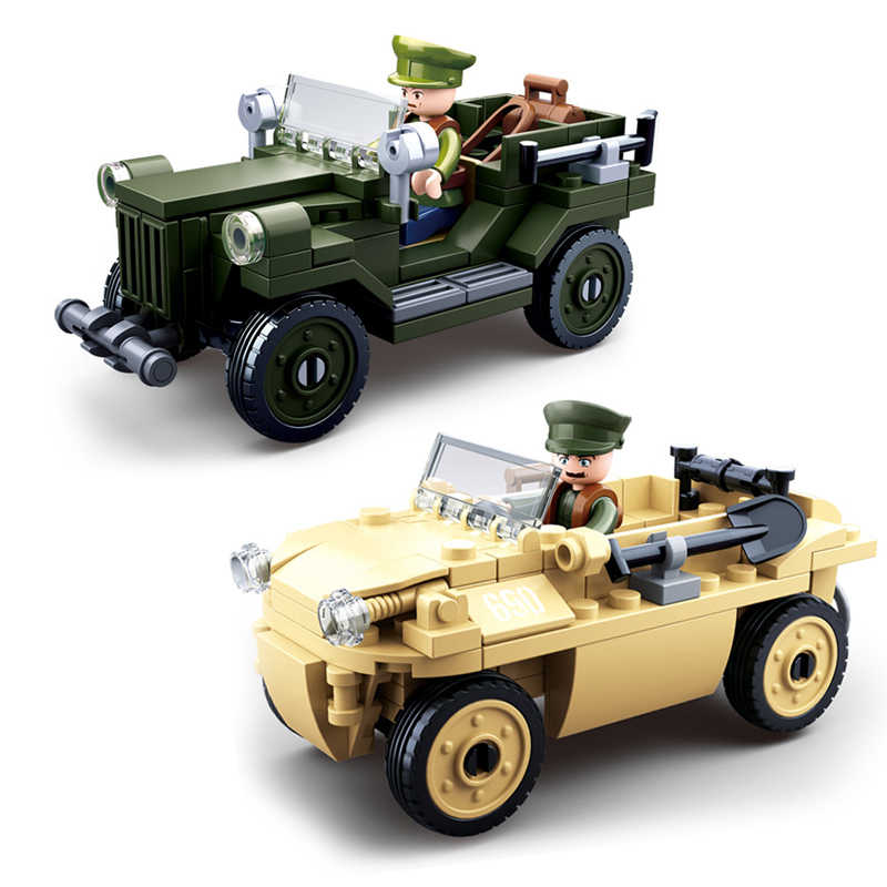 World war 2 military vehicle compatible ing tank panzer plane truck jeep ww2 German soviet army weapon building blocks toys
