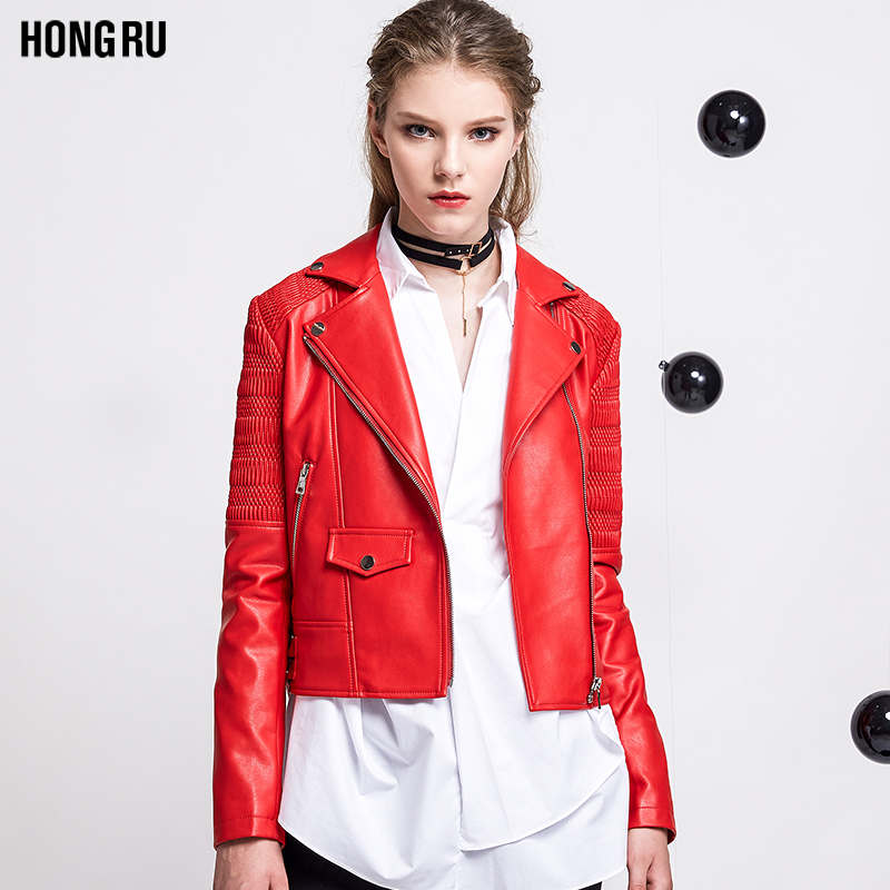 2017 Red Autumn New Korean Slim Leather Jacket Female Lapel Motorcycle Washed PU Short Sleeve Thread Patchwork Coat AS1023
