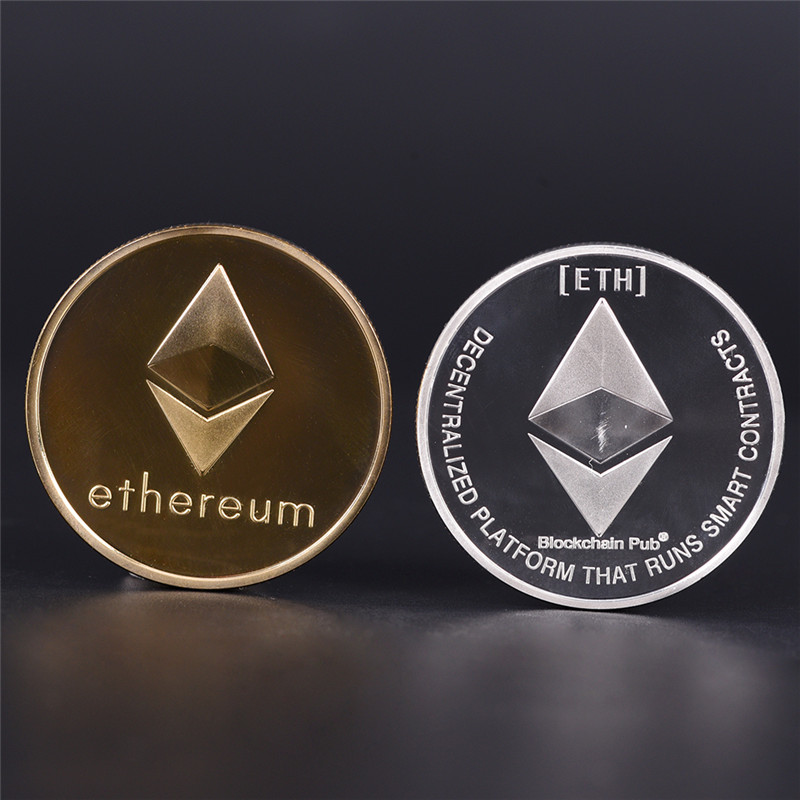 Silver Gold Plated Coin Collectible Gift ETH Ethereum Miner Coin Art Collection Gold Silver Commemorative Coins Hot Sale