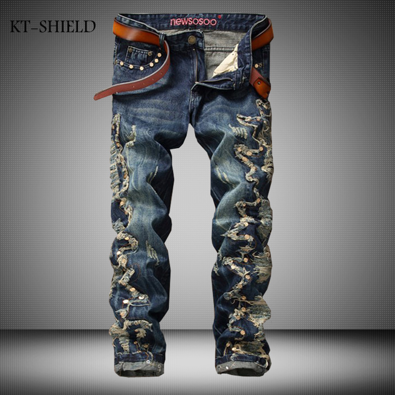 New Arrival Famous Brand Ripped Jeans Men High Quality Splicing Rivet Punk Denim Pants Casual Style