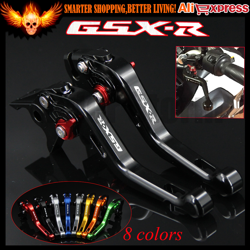 ФОТО Laser Logo(GSX-R) 8 Colors Black CNC Aluminum Motorcycle Short Brake Clutch Levers For Suzuki GSXR1000 2007 2008