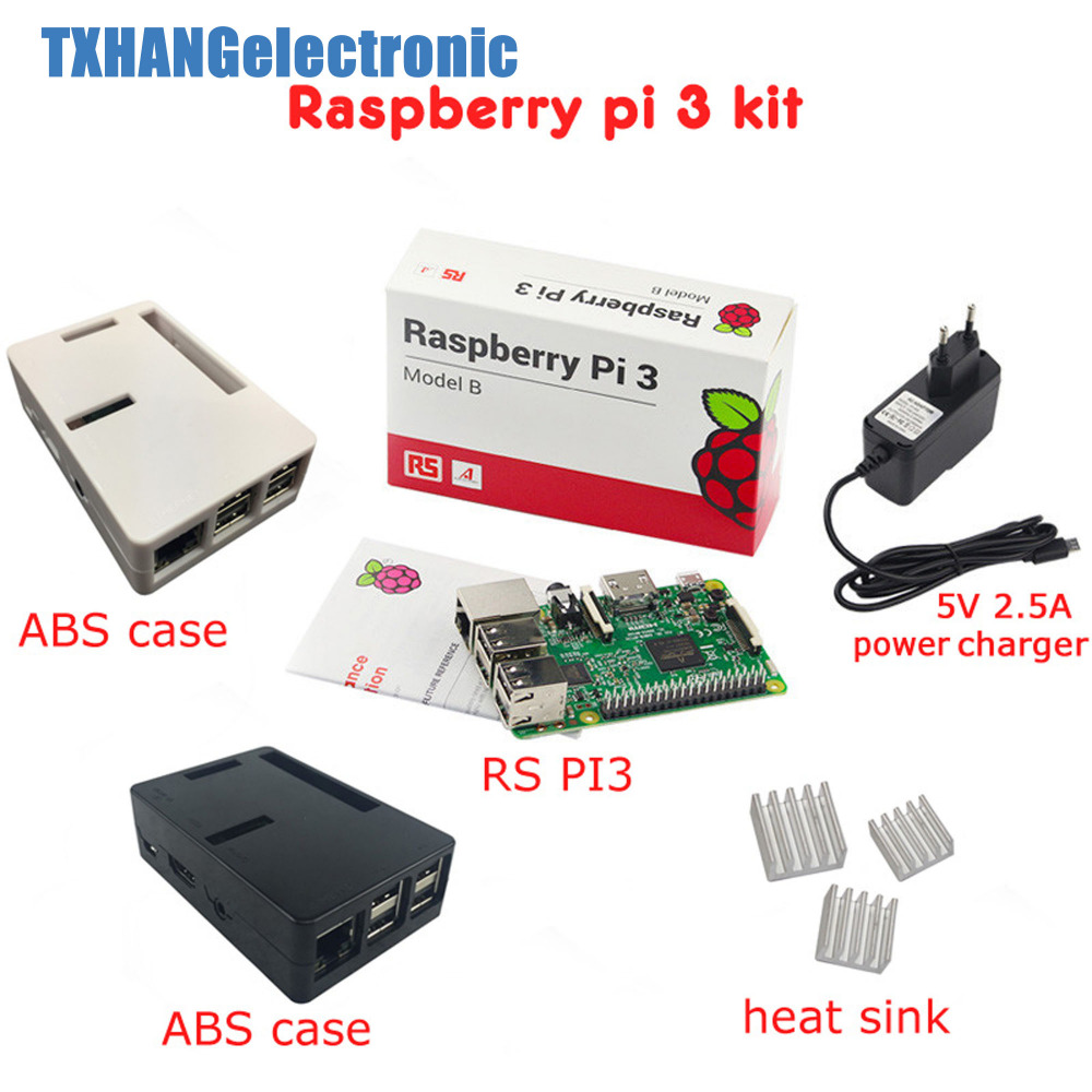 Raspberry Pi 3 Board + 5V 2.5A Power Supply + Case + Heat Sink For Raspberry Pi 3 Model B PI 3 WiFi & Bluetooth starter kitRaspberry Pi 3 Board + 5V 2.5A Power Supply + Case + Heat Sink For Raspberry Pi 3 Model B PI 3 WiFi & Bluetooth starter kit