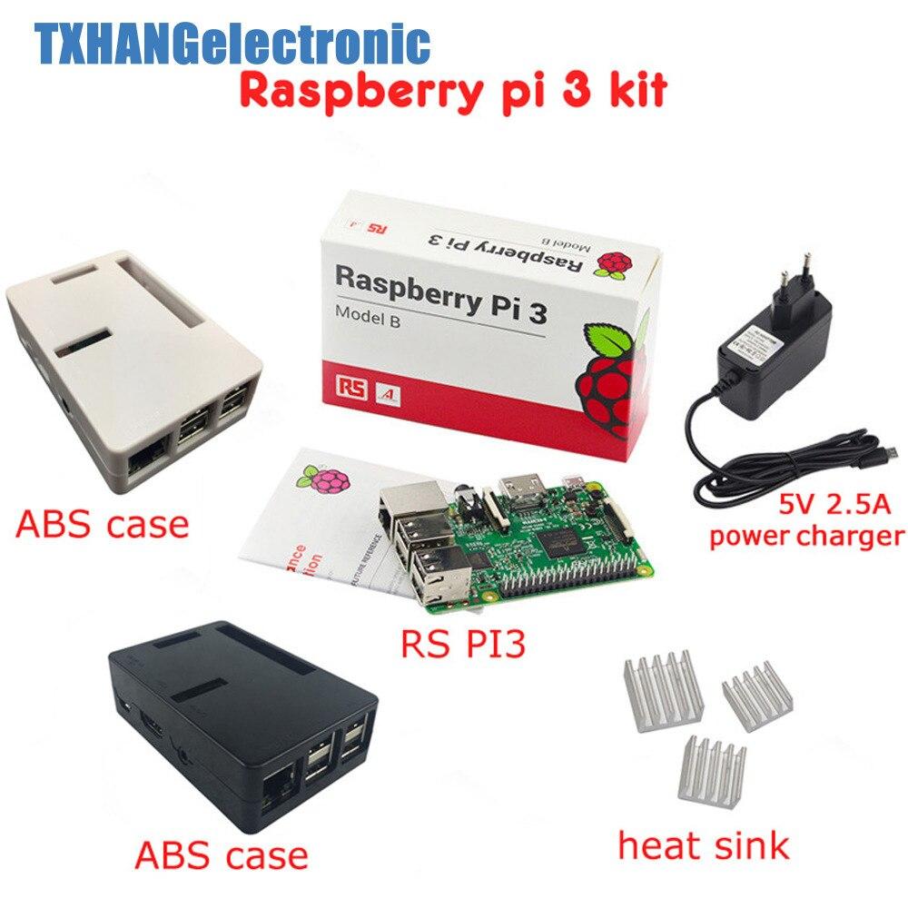 Raspberry Pi 3 carte + 5 V 2.5A alimentation + boîtier + dissipateur de chaleur pour Raspberry Pi 3 modèle B PI 3 WiFi & Bluetooth kit de démarrage
