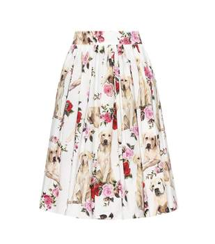 Customized 2018 New Arrival Dog Rose Flower Printed Pleated Knee-Length Skirt Plus Size Imitation Silk Skirts Saia Femininas