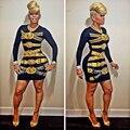 Das Mulheres da forma Tradicional Africano Dashiki Impressão Bodycon Vestido 2016 Sexy Partido Long Sleeve Mini Vestido de Verão Vestidos Plus Size