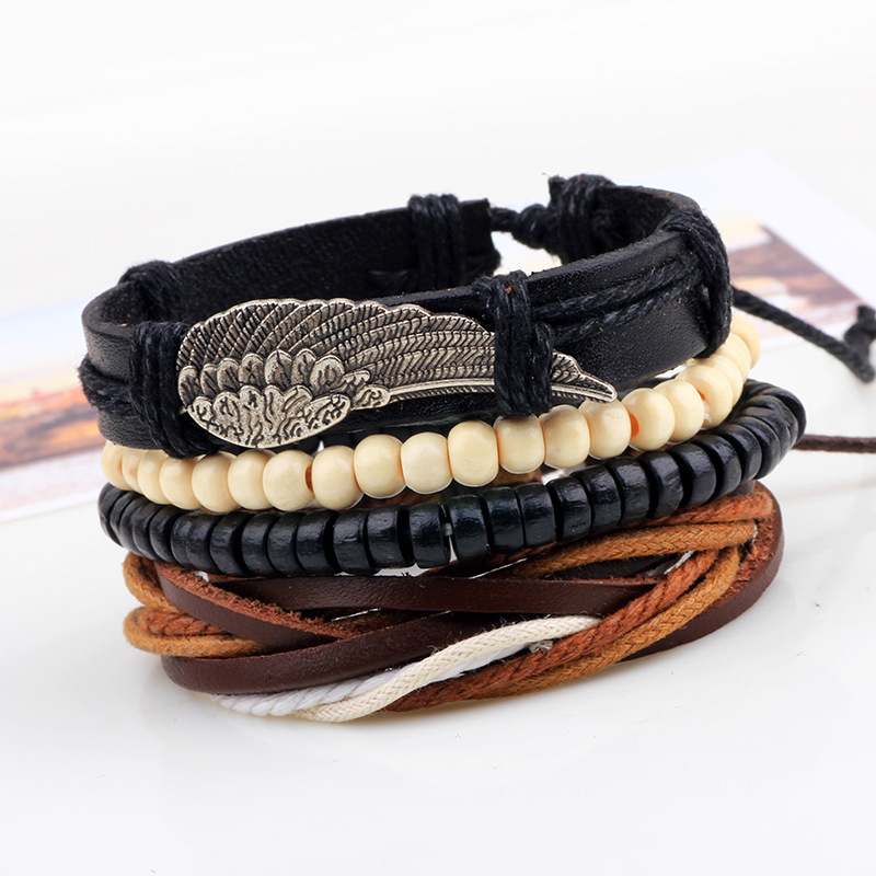 1Set 4pcs Punk Leather Angel Wing Boho Bracelets for Male Braclet Mens Braslet Pulseras Hombre Bileklik Erkek Jewellery