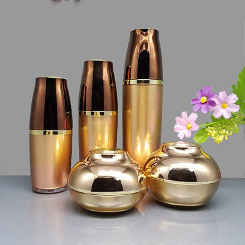Empty Bottle Suit Gold Acrylic Refillable Bottle Emulsion Bottle Spray Bottle Lotion Pump Cosmetic Cream Jar