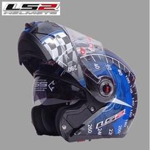 Free shipping dual lens LS2 FF370 motorcycle helmet visor exposing new cost-effective full-face helmet / Black Blue Speed