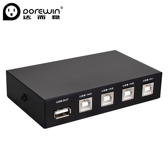 Dorewin USB 20 Printer Sharing Switch 4 In 1 Out High Speed Port