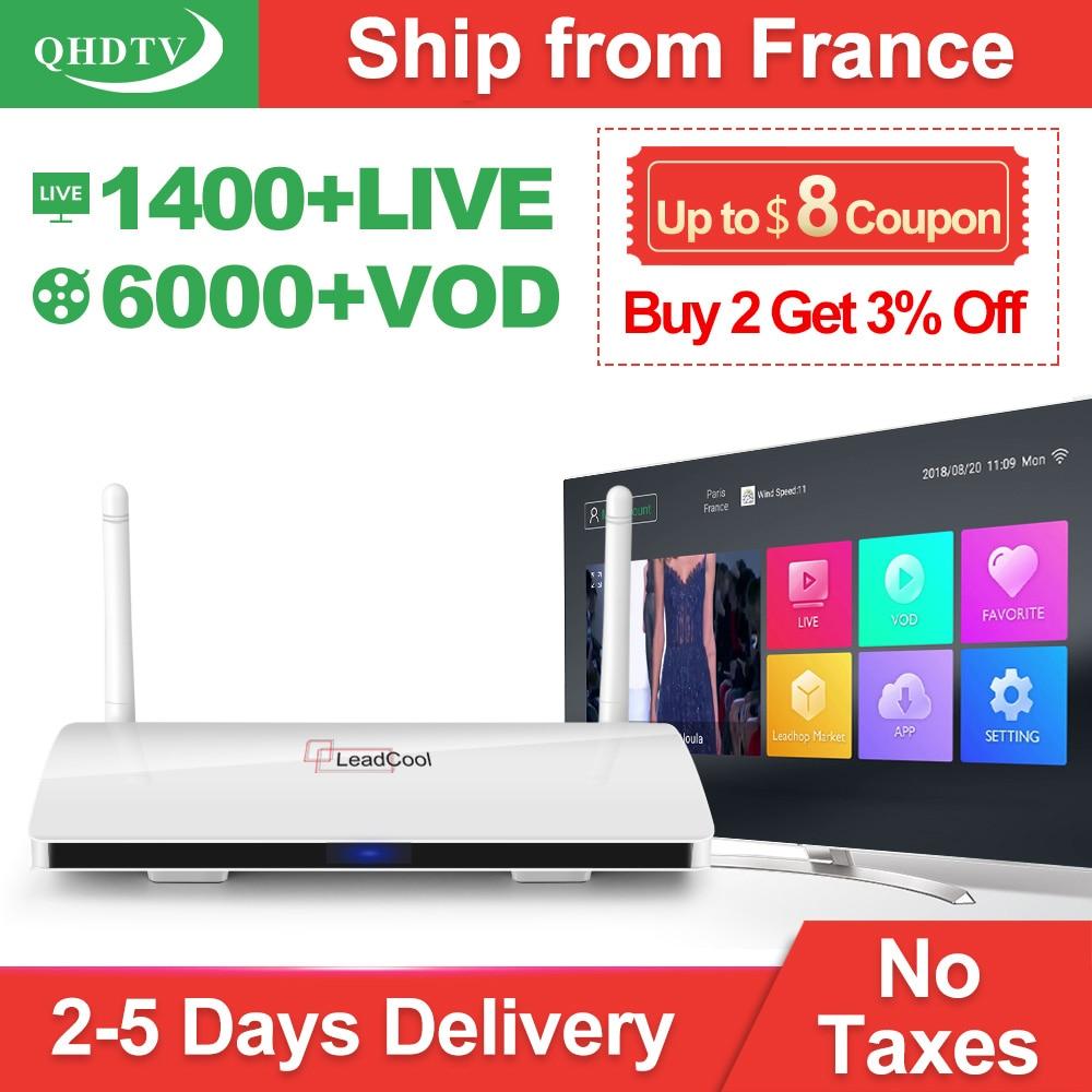 Leadcool QHDTV 1 Ano IPTV France RK3229 Árabe Caixa de IPTV Android 8.1 1 + 8G Países Baixos Bélgica Itália QHDTV assinatura Caixa de TV IP
