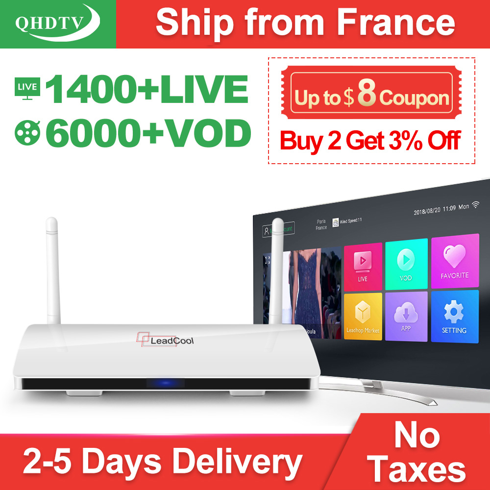 Leadcool QHDTV 1 an IPTV France arabe RK3229 Android 8.1 1 + 8G IPTV Box pays-bas belgique italie QHDTV abonnement IP TV Box