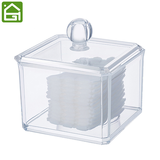 Acrylic Storage Box Makeup Container Cosmetic Organizer Box For Storage  Cotton Ball Cotton Pad Makeup Pad