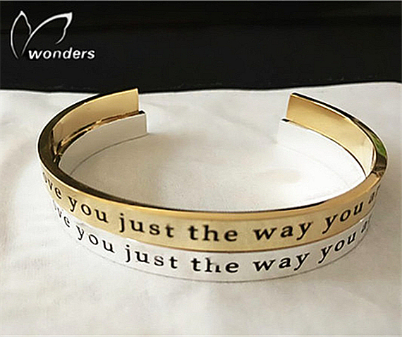 Custom Engraved Words Bangle Bracelet For Women Personalized Love Expression Engagement Anniversary Gifts Jewelry